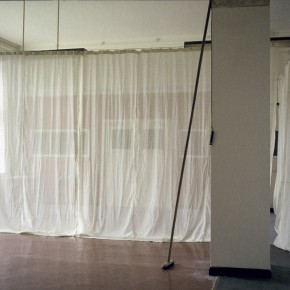Hospital corridor broom and curtain