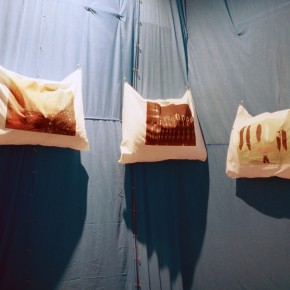 Fabric printed sedation pillows against nylon blue hospital sheets